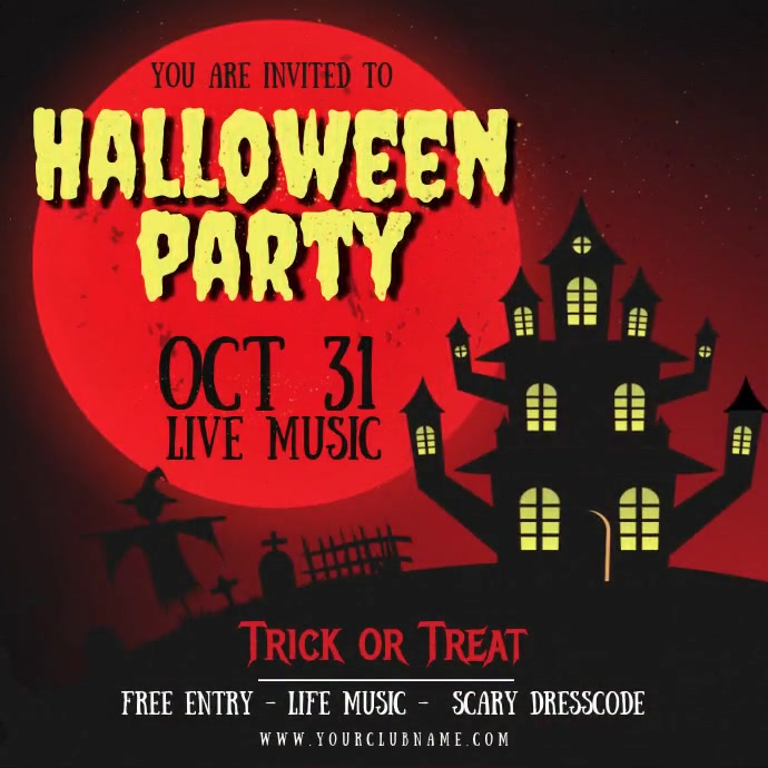 Animated Red Halloween Party Invite Instagram 帖子 template
