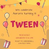 Animated Tween to Teen Orange Birthday Party