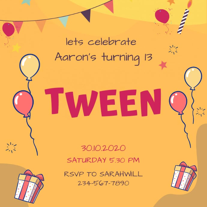 Animated Tween to Teen Orange Birthday Party Message Instagram template