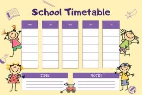 Animated Yellow School Timetable Poster