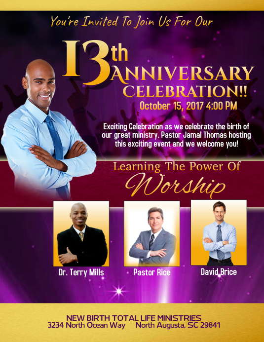 Customizable design templates for church anniversary postermywall anniversary flyer m4hsunfo