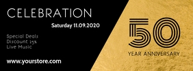 anniversary Gala Celebration Template gold Ad Facebook Cover Photo