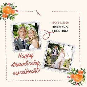 Anniversary greetings square video templete template
