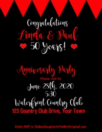 Anniversary Invitation Black Red White