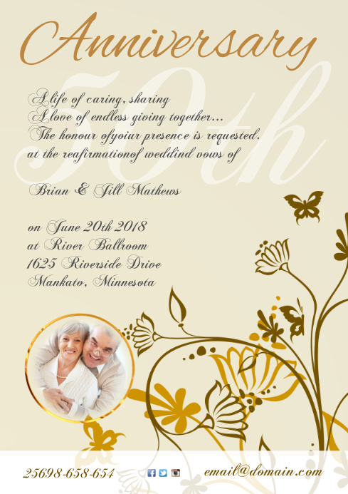 Anniversary Invitation Template Postermywall