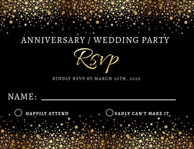 Anniversary Wedding RSVP Card Flyer Template