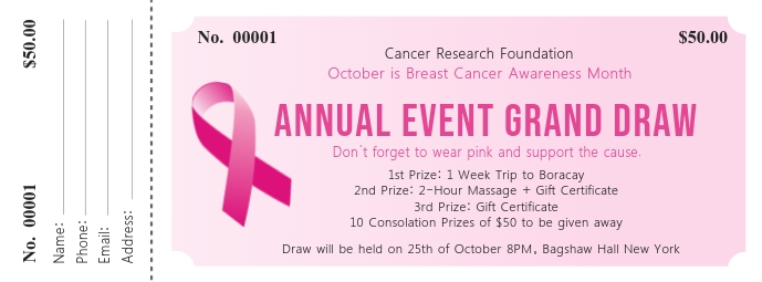 Annual Breast Cancer Event Ticket Cover na Larawan ng Facebook template