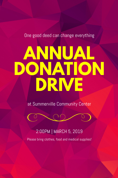 Annual Donation Drive Poster Template Postermywall