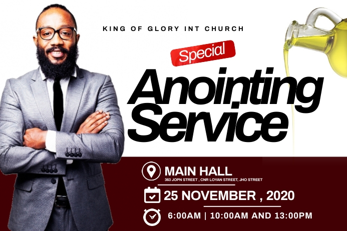 Anointing service flyer Etiket template