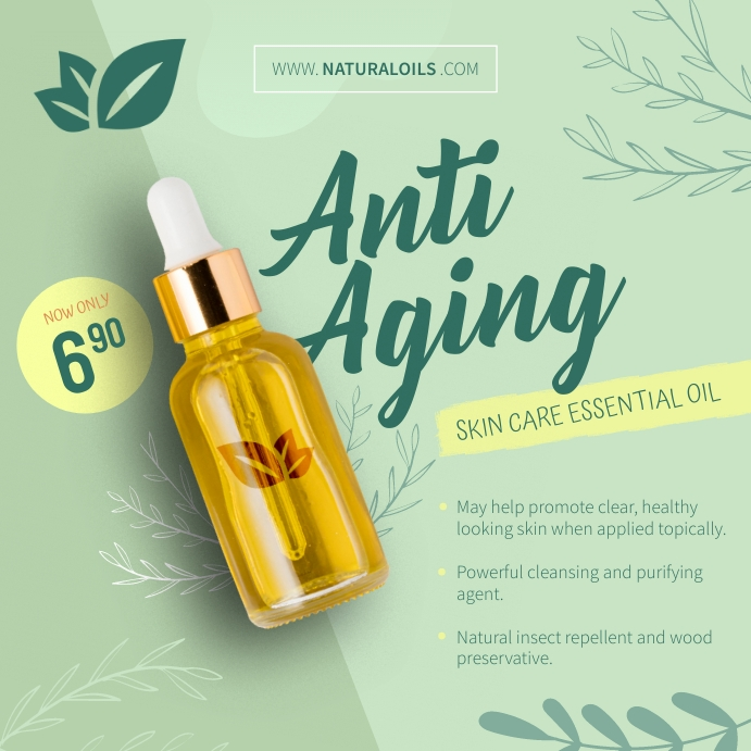 Anti Aging Skin Care Essential Oil Ad Instagram-opslag template