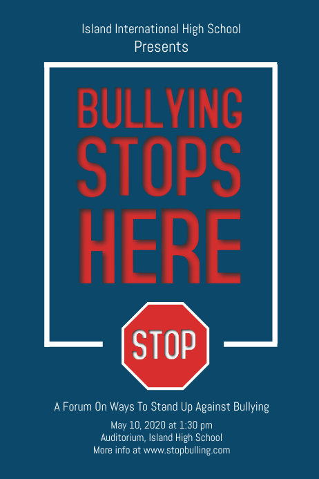 anti bullying blue poster template