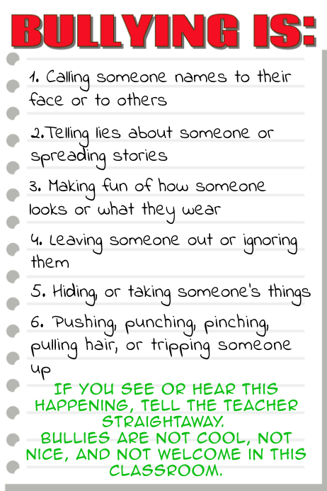 Anti Bullying Classroom Poster Template