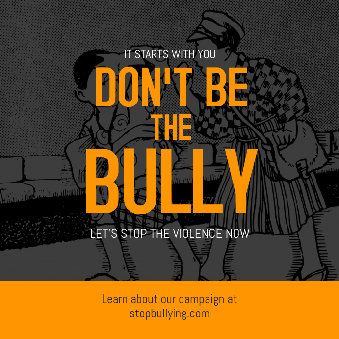 Anti Bullying Grey and Yellow Instagram Template