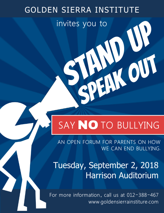 Anti Bullying Public Forum Event Flyer Template 传单(美国信函)