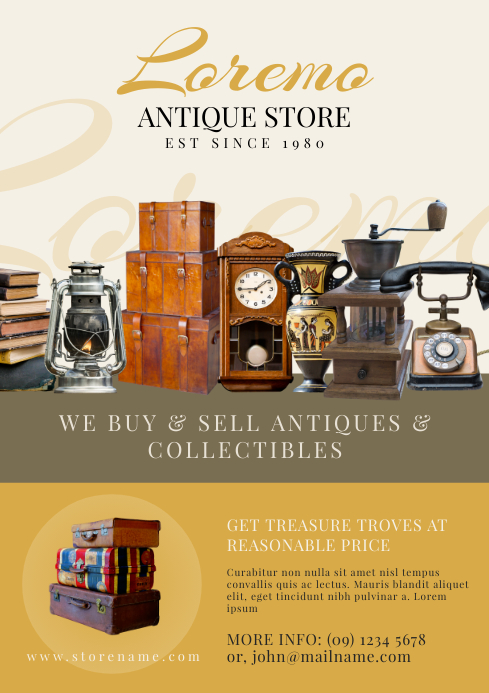 Antique Store Flyer Template Postermywall