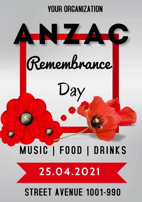 Anzac Celebration Flyer A3 template