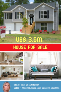 Apartment, house, condo sale, open house, real estate flyer Poster template