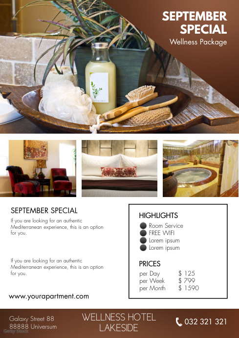 Copy Of Apartment Flyer Hotel Room Services Holiday Postermywall
