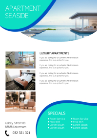 Apartment Flyer Hotel Room Services Holiday A4 template