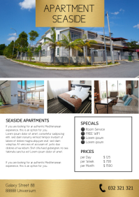 Apartment Flyer Hotel Room Services Holidays A4 template