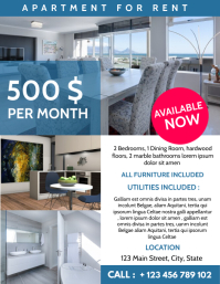 apartment for rent advertisement Flyer (Letter pang-US) template