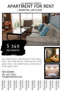 Apartment for rent Flyer with tear off tabs Poster template