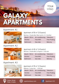 Apartments Rent Room Booking Holidays Beach A4 template