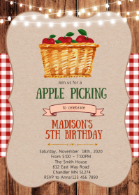 Apple birthday party invitation