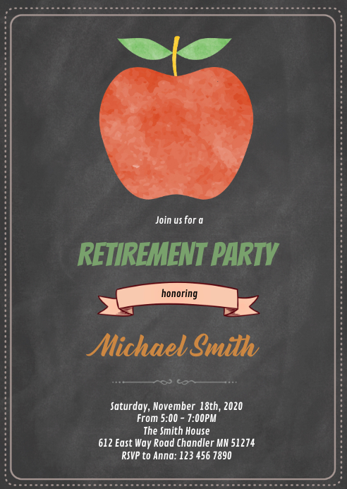 Apple teacher retirement invitation A6 template