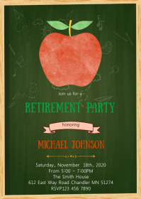 Apple teacher retirement party invitation A6 template