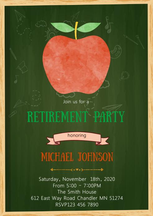 Apple teacher retirement party invitation A6 template