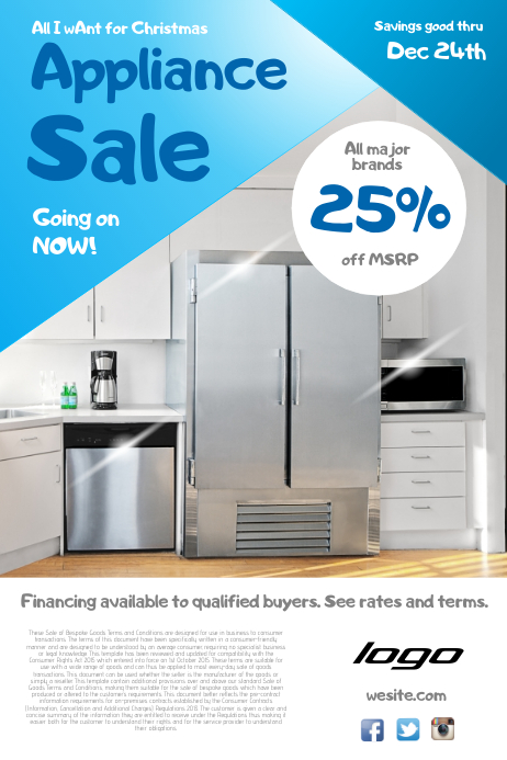 Appliance Sale Poster Template Postermywall