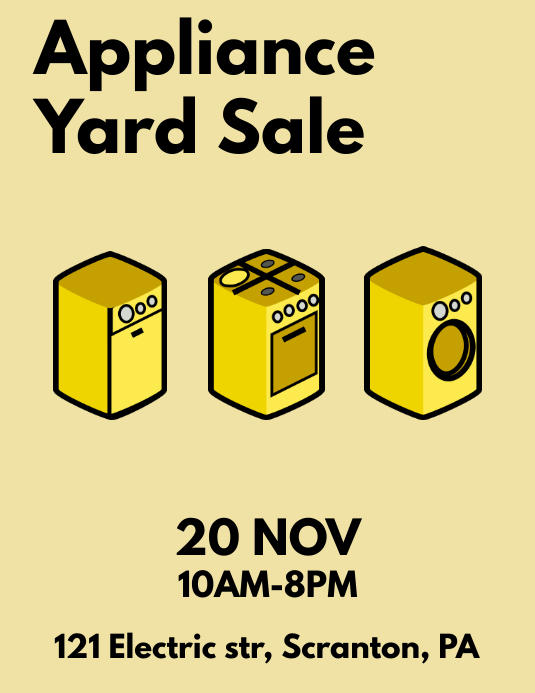 Appliance Yard Sale Flyer Poster template