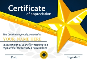 Appreciation Certificate Template A4