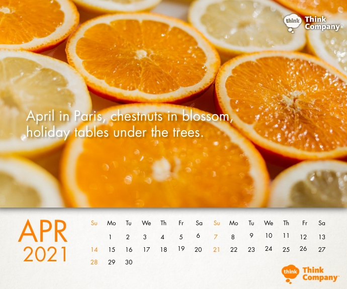 April 2021 Calendar Printable Template Retângulo médio