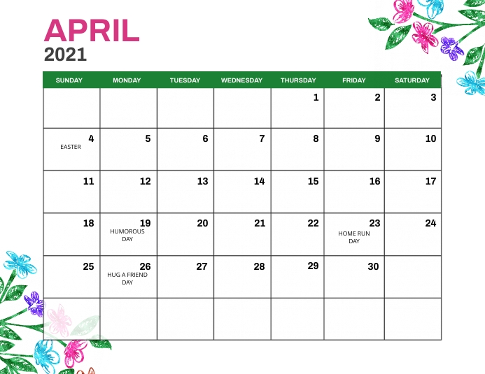 April 2021 Monthly Events Calendar Template Flyer (Letter pang-US)