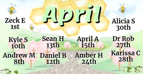 April birthdays Facebook-gebeurtenisomslag template
