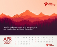 April Calendar 2021 Printable Template Retângulo médio