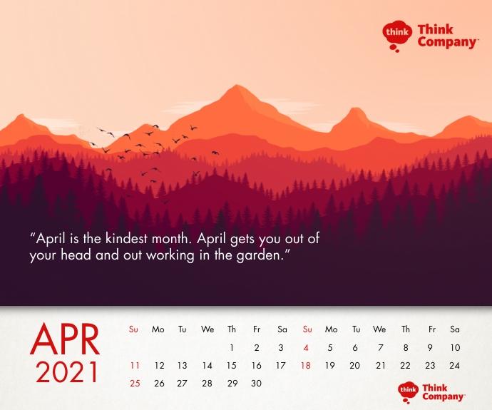 April Calendar 2021 Printable Template Retângulo médio