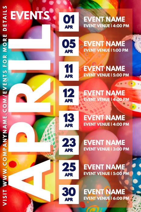 April Easter Events Calendar Template