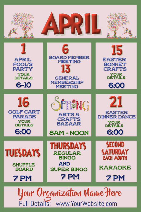 April Upcoming Events Calendar Newsletter