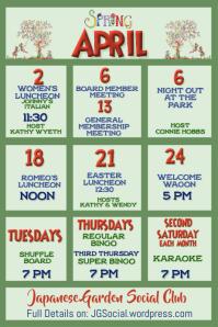 April Upcoming Events Calendar Newsletter
