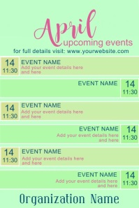 April Upcoming Events with Video Plakkaat template