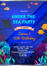 Aquarium under the sea Party invitation A6 template