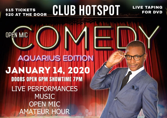 AQUARIUS COMEDY SHOW Postcard template