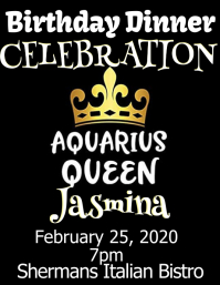 aquarius queen birthday invitation celebrate