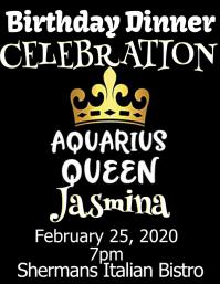 aquarius queen birthday invitation celebrate