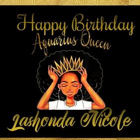 Aquarius queen happy day invitation celebrate Instagram Post template