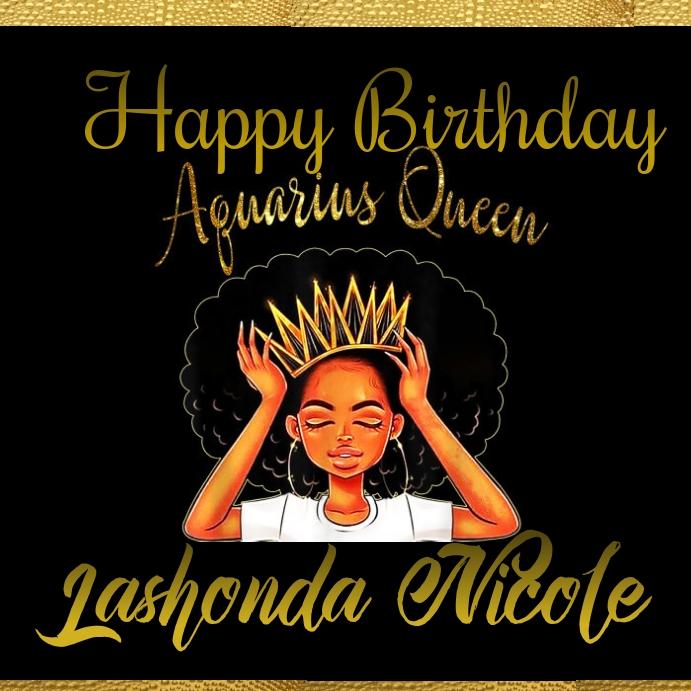 Aquarius queen happy day invitation celebrate