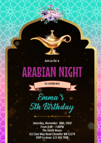 Arab magic lamp party invitation A6 template